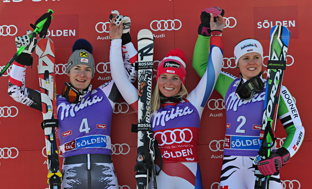 Podium dames - Coupe du monde de Sölden 2013