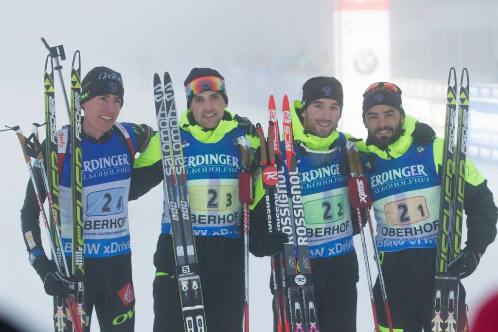 Quentin Fillon Maillet, Simon Desthieux, Jean Guillaume Beatrix, Simon Fourcade - © Manzoni/NordicFocus