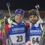 02.12.2015, Oestersund, Sweden (SWE):Quentin Fillon Maillet et Simon Fourcade (FRA). © Manzoni/NordicFocus