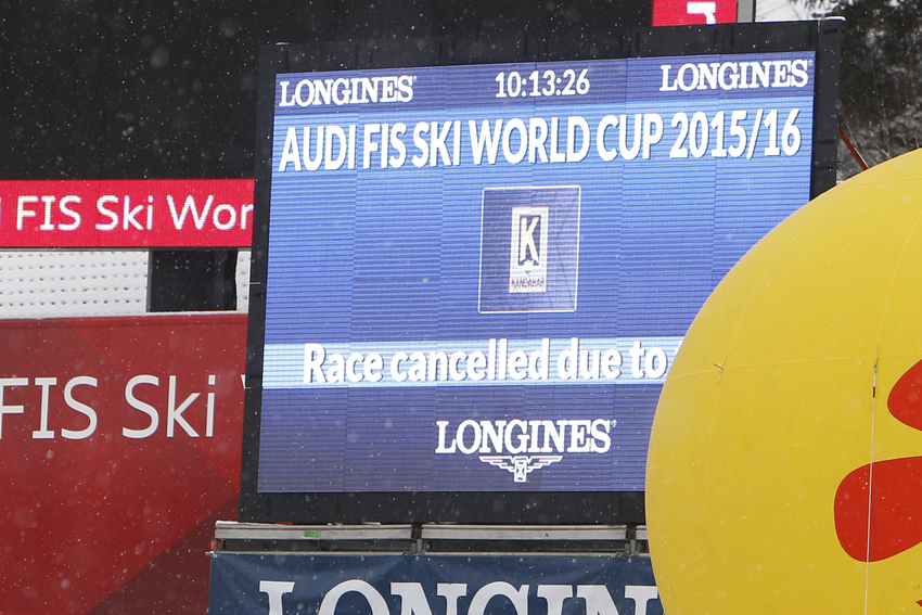 GARMISCH-PARTENKIRCHEN, GERMANY - JANUARY 31: Because of the bad weather the race is cancelled in Garmisch .during the Audi FIS Alpine Ski World Cup Men's Giant Slalom on January 31, 2016 in Garmisch-Partenkirchen, Germany. (Photo by Alexis Boichard / Zoom)