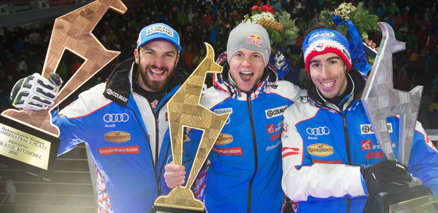 f.l.t.r. 3rd placed Thomas Mermillod Blondin  of France, winner Alexis Pinturault of France, 2nd placed Victor Muffat-Jeandet of France on Podium during the men's Super Combined Winner ceremony of the Alpine Skiing World Cup in Kitzbuhel, Austria, 22 January 2016.    + + + WE EXPRESSLY POINT OUT THAT,  DUE TO LEGAL REASONS, THIS IMAGE MAY ONLY BE USED IN CONNECTION WITH THE PURPOSE CITED - EDITORIAL USE ONLY - NO SALES - MANDATORY CREDIT + + +   FOTO: K.S.C./EXPA/JFK