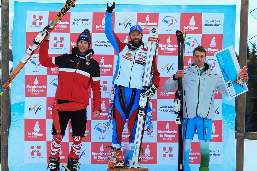 LA PLAGNE, FRANCE - JANUARY 27: Philippe Lau of France takes 1st place, Tobias Mueller of Germany takes 2nd place, Jure Ales of Slovenia takes 3rd place during the FIS Telemark World Cup Men's and Women's Sprint on January 27, 2016 in La Plagne, France. (Photo by Laurent Salino/Agence Zoom)