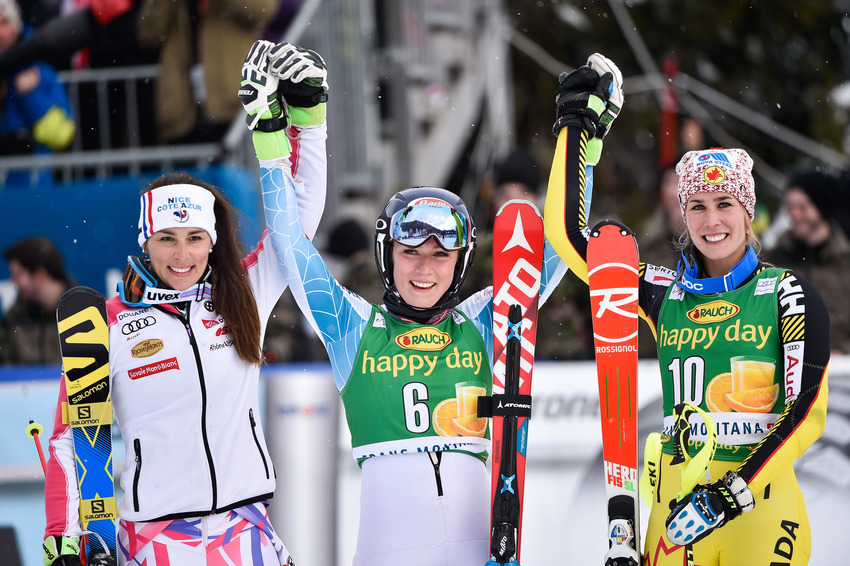 CRANS MONTANA, SWITZERLAND - FEBRUARY 15: Nastasia Noens of France takes 2nd place, Mikaela Shiffrin of USA takes 1st place, Marie-michele Gagnon of Canada takes 3rd place the Audi FIS Alpine Ski World Cup WomenÕs Slalom on February 15, 2016 in Crans Montana, Switzerland. (Photo by Vianney Thibaut/Agence Zoom)