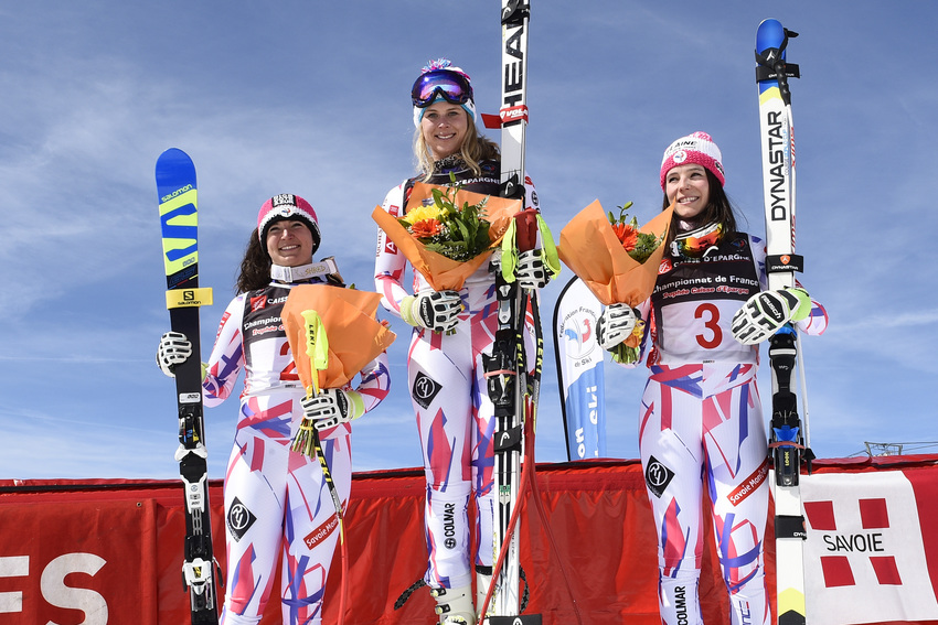 LES MENUIRES -MARCH 24: Anne-sophie Barthet of France, Romane Miradoli of France, Margot Bailet of France on the podium  during the French Alpine Championship women's downhill on thursday 24 march 2016, Les Menuires, France. (Photo by Alain Grosclaude/Agence Zoom)