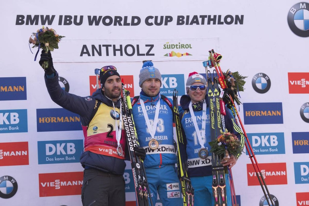 20.01.2017, Antholz, Italy (ITA): Martin Fourcade (FRA), Anton Shipulin (RUS), Sergey Semenov (UKR), (l-r) -  IBU world cup biathlon, individual men, Antholz (ITA). www.nordicfocus.com. © Manzoni/NordicFocus. Every downloaded picture is fee-liable.