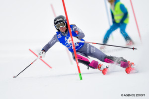 LIENZ, AUSTRIA - DECEMBER 28: Adeline Baud Mugnier of France competes during the Audi FIS Alpine Ski World Cup Women's Slalom on December 28, 2017 in Lienz, Austria. (Photo by Laurent Salino/Agence Zoom)