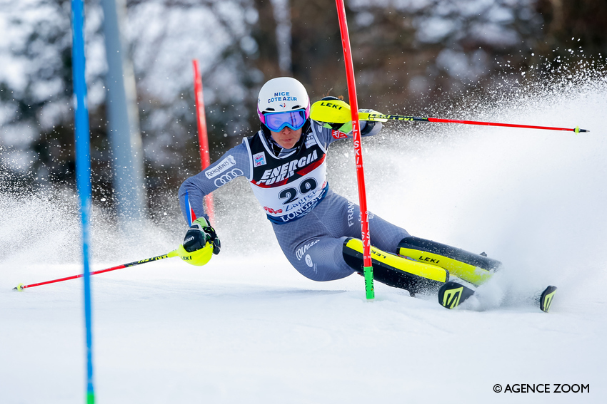 ZAGREB, CROATIA - JANUARY 03: Nastasia Noens of France competes during the Audi FIS Alpine Ski World Cup Women's Slalom on January 3, 2018 in Zagreb, Croatia. (Photo by Christophe Pallot/Agence Zoom)