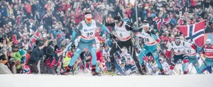 10.03.2018, Oslo, Norway (NOR): Adrien Backscheider (FRA), Simen Andreas Sveen (NOR), Dario Cologna (SUI), Jules Lapierre (FRA), (l-r)  - FIS world cup cross-country, mass men, Oslo (NOR). www.nordicfocus.com. © Modica/NordicFocus. Every downloaded picture is fee-liable.