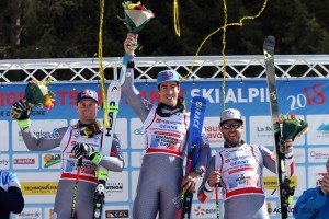 CHÂTEL, FRANCE - MARCH 24: Victor Muffat-jeandet of France takes 1st place, Alexis Pinturault of France takes 2nd place, Thomas Fanara of France takes 3rd place during the French Alpine Ski Championship Men's Giant Slalom on Saturday 24 March 2018, Châtel, France. (Photo by Christophe Pallot/Agence Zoom)