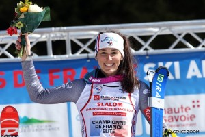 CHÂTEL, FRANCE - MARCH 24: Nastasia Noens of France takes 1st place during the French Alpine Ski Championship Women's Slalom on Saturday 24 March 2018, Châtel, France. (Photo by Christophe Pallot/Agence Zoom)