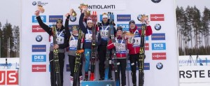 10.03.2018, Kontiolahti, Finland (FIN): Julian Eberhard (AUT), Lisa Theresa Hauser (AUT), Anais Chevalier (FRA), Antonin Guigonnat (FRA), Marte Olsbu (NOR), Johannes Thingnes Boe (NOR), (l-r) - IBU world cup biathlon, single mixed relay, Kontiolahti (FIN). www.nordicfocus.com. © Manzoni/NordicFocus. Every downloaded picture is fee-liable.