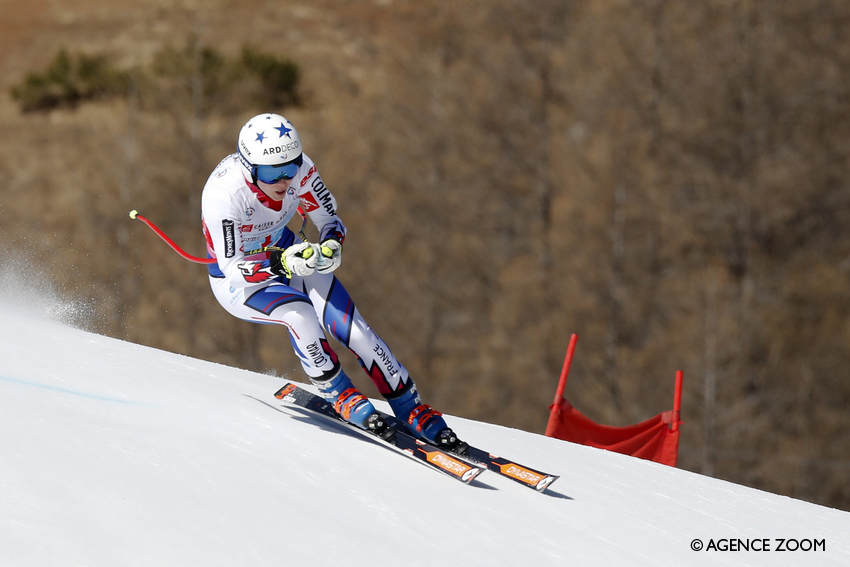 AURON, FRANCE - MARCH 27: Romane Miradoli of France takes 1st place during the Caisse Epargne Trophy - FRANCE CHAMPIONSHIPS, Women's Downhill on March 27, 2019 in Auron, France. (Photo by Alexis Boichard/Agence Zoom)