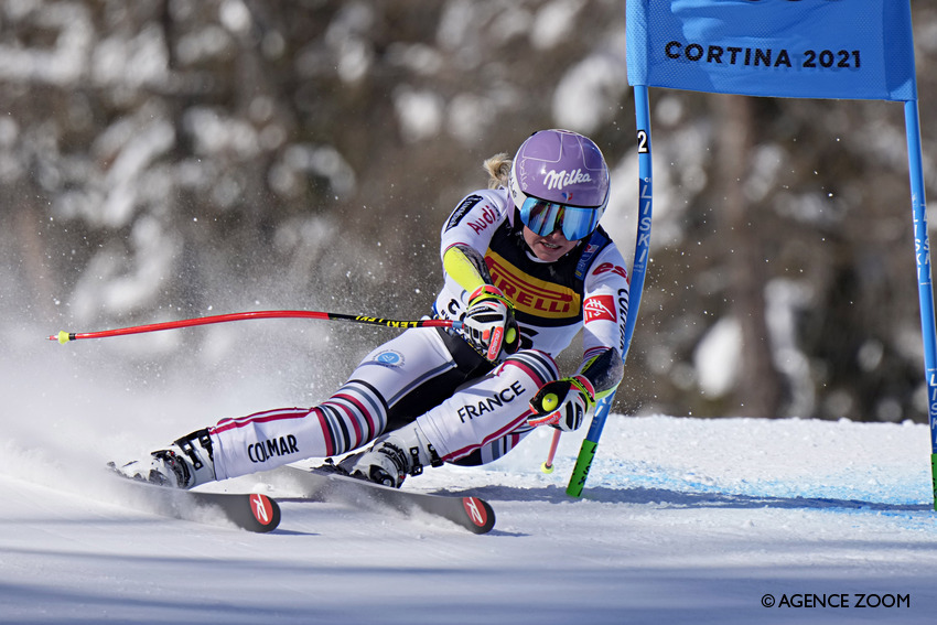 CORTINA D'AMPEZZO, ITALY - FEBRUARY 11 : Tessa Worley of France in action during the FIS Alpine Ski World Championships Women's Super Giant Slalom on February 11, 2021 in Cortina d'Ampezzo Italy. (Photo by Francis Bompard/Agence Zoom)